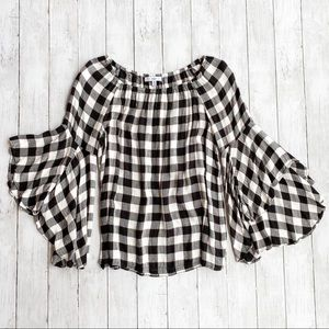 Fever Kyoto Plaid Bell Sleeve Top Size Medium